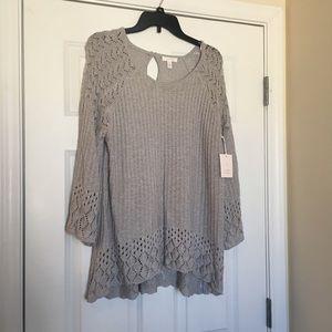 New Size XXL Lauren Conrad Grey Patterned Sweater